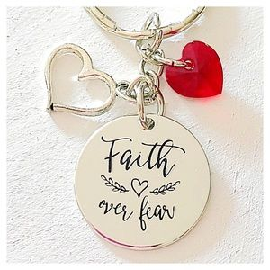 ✨3 for $30✨Faith Over Fear ♥️ Silver Keychain Gift